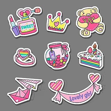 cartoon cute  sentiment toys stickers, Cartoon, Lipstick, Rag Doll PNG and PSD