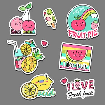 cartoon fruit cute graffiti stickers, Cartoon, Lovely, Lemon PNG and PSD