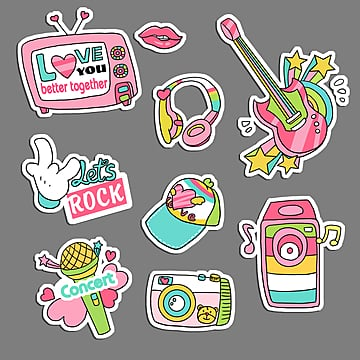 music rock  sticker, , Guitar,  PNG and PSD