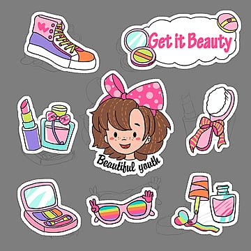 cartoon stickers for cute cosmetics, Brush, Cosmetics, Cartoon PNG and PSD