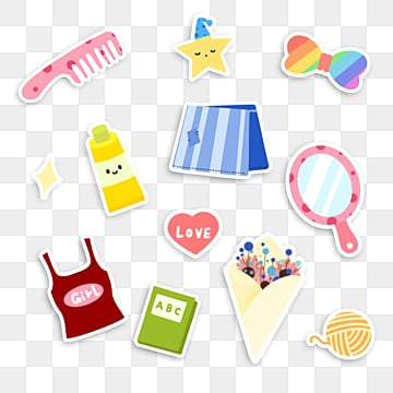 cute cartoon stickers for girlsrooms, Cartoon, Lovely, Girl PNG and PSD