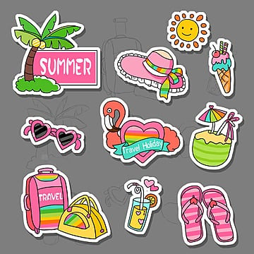 summer romantic travel  cartoon stickers, , Cartoon Sticker, Summer PNG and PSD