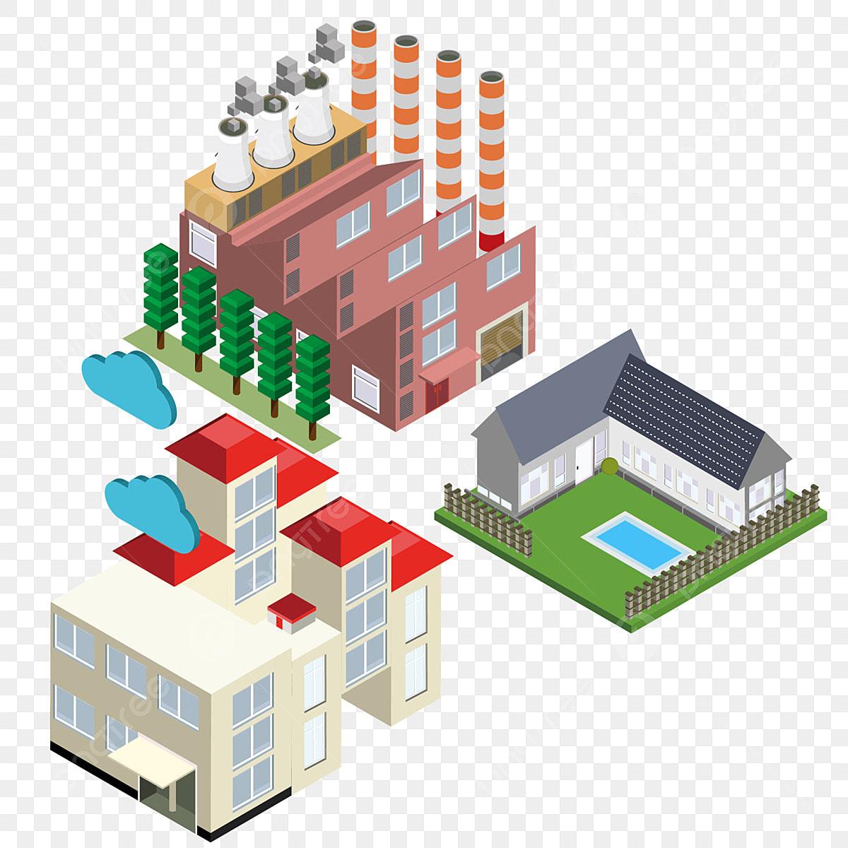 pngtree 3d illustration of 2 5d city building png image 4368529