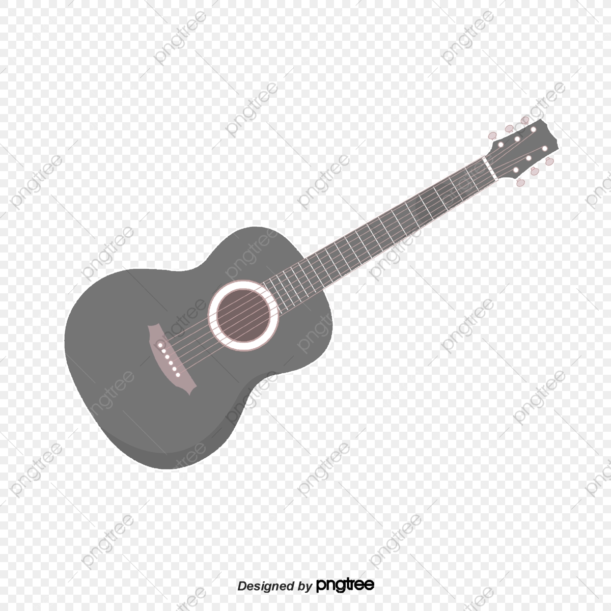 Download Black And White Guitar Transparent Image Clipart PNG Free |  FreePngClipart