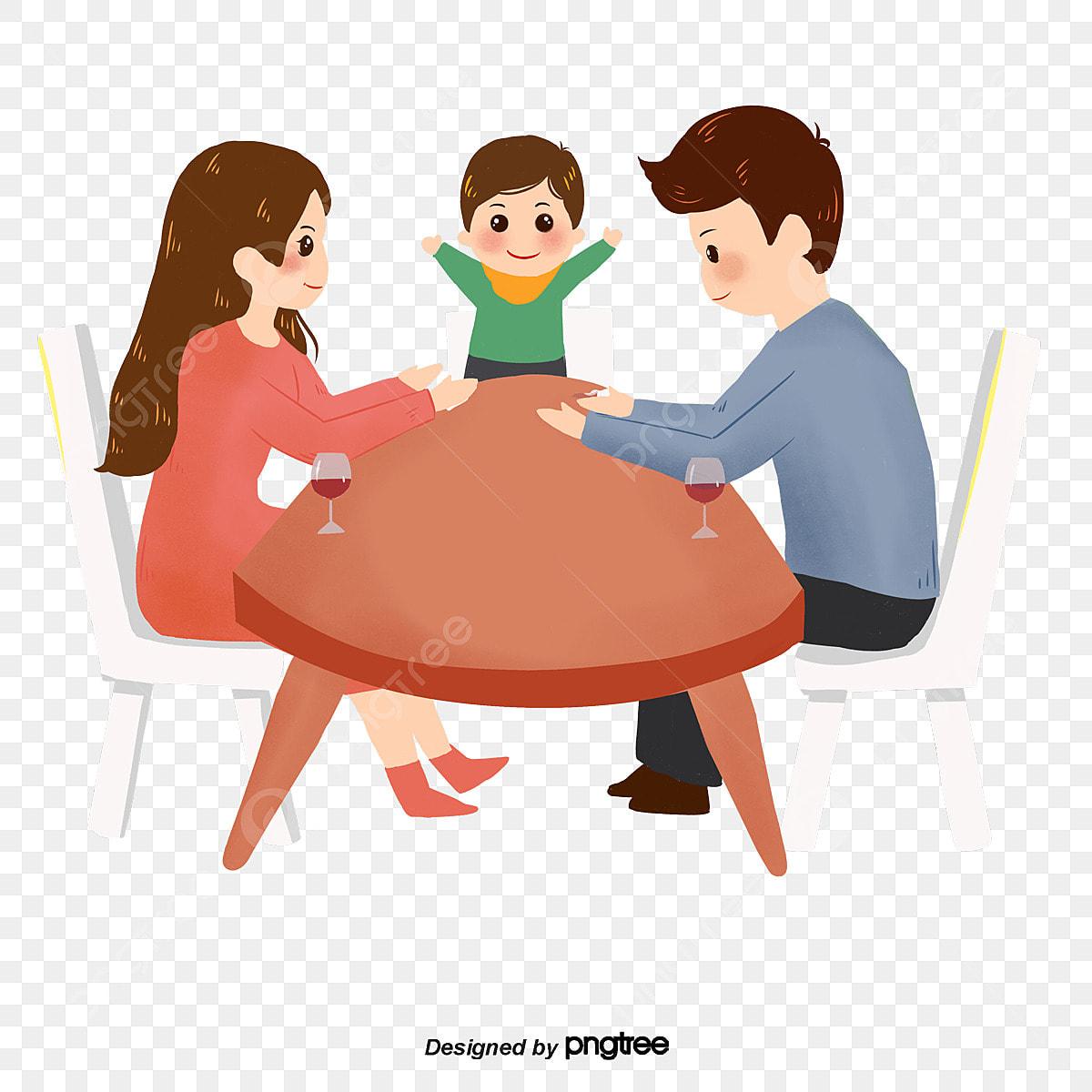 Gambar Duduk Di Meja Depan Untuk Sebuah Keluarga Tiga Keluarga Tiga Kartun Keharmonian Png Dan Psd Untuk Muat Turun Percuma