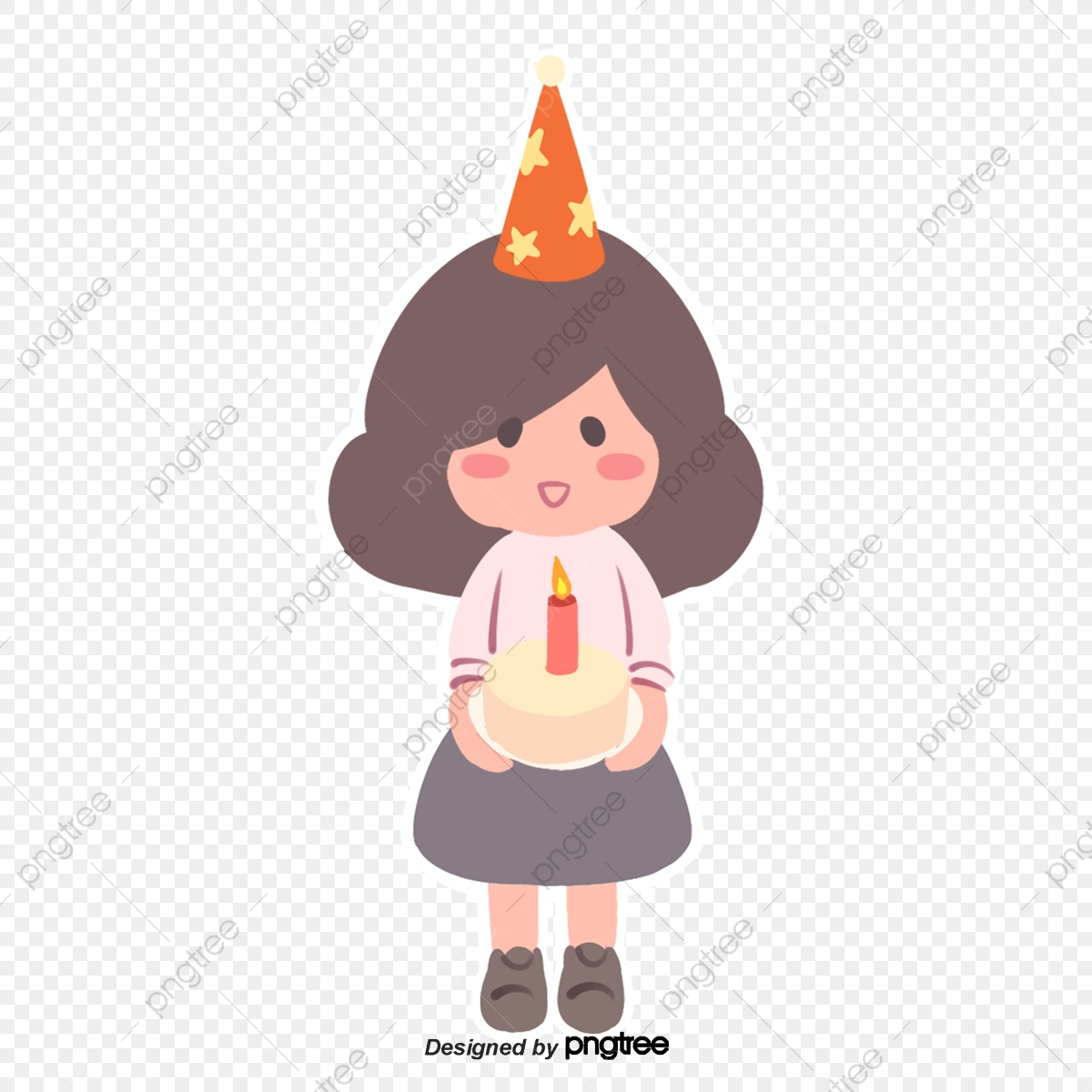 A Little Girl Carrying A Birthday Cake Through Her Birthday Cartoon Girl Celebrating Png Transparent Clipart Image And Psd File For Free Download