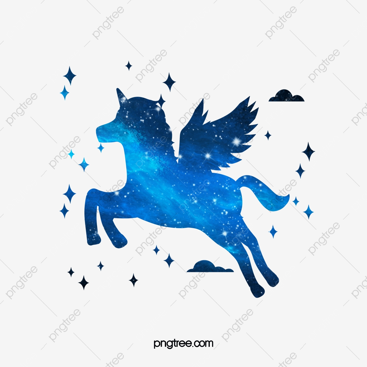 Aesthetic Blue Star Unicorn Silhouette Creative Aestheticism Rainbow Png Transparent Clipart Image And Psd File For Free Download