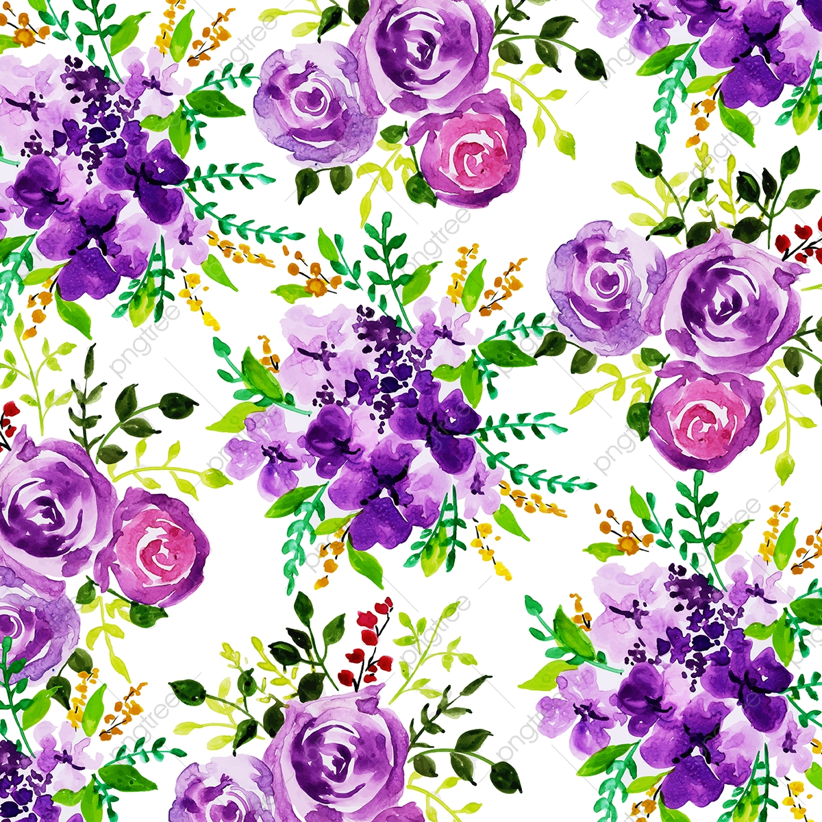 Beautiful Watercolor Irregular Floral Pattern Background