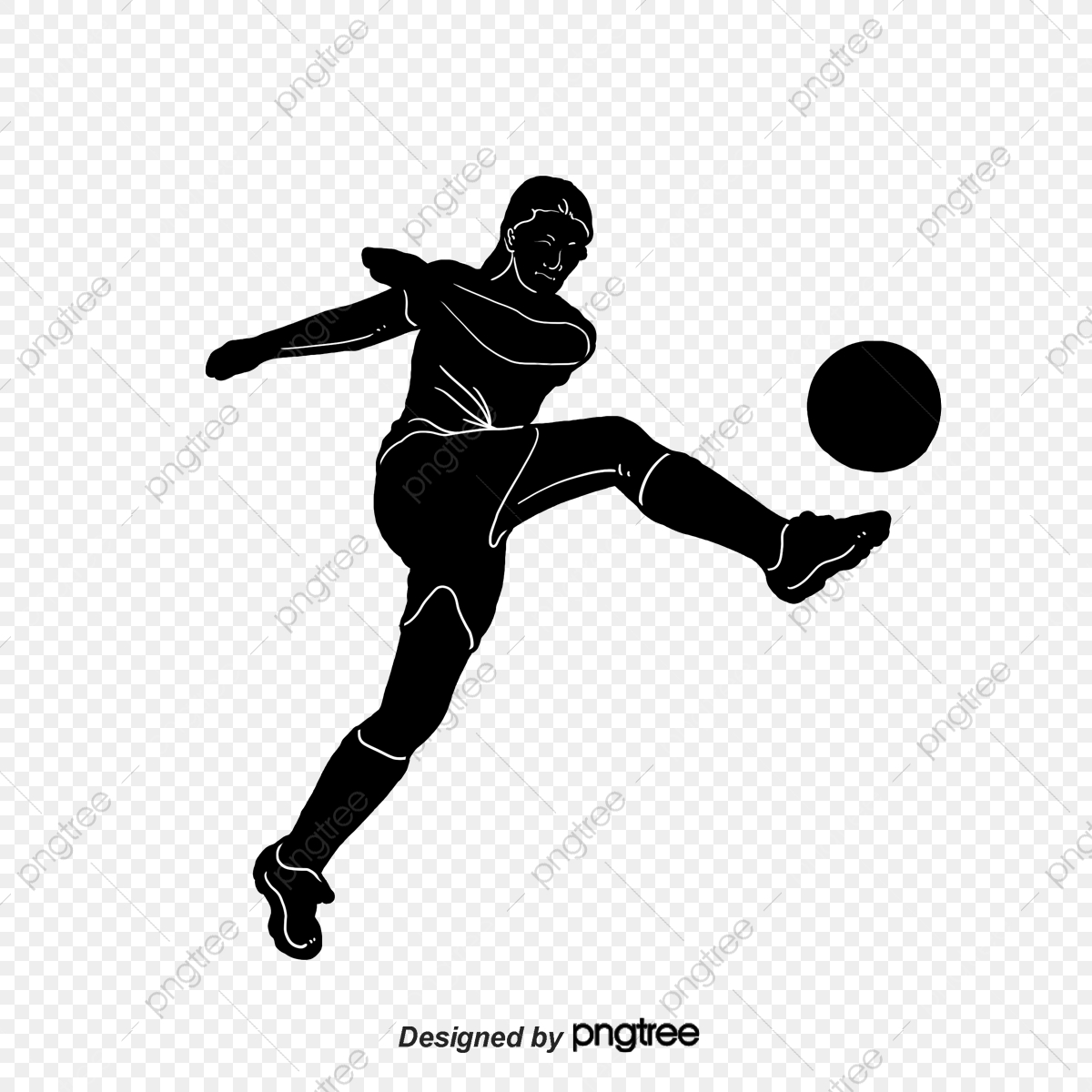 Black And White Silhouette Of Womens Football Cartoon Sports Bodybuilding Silhouette Png Transparent Clipart Image And Psd File For Free Download