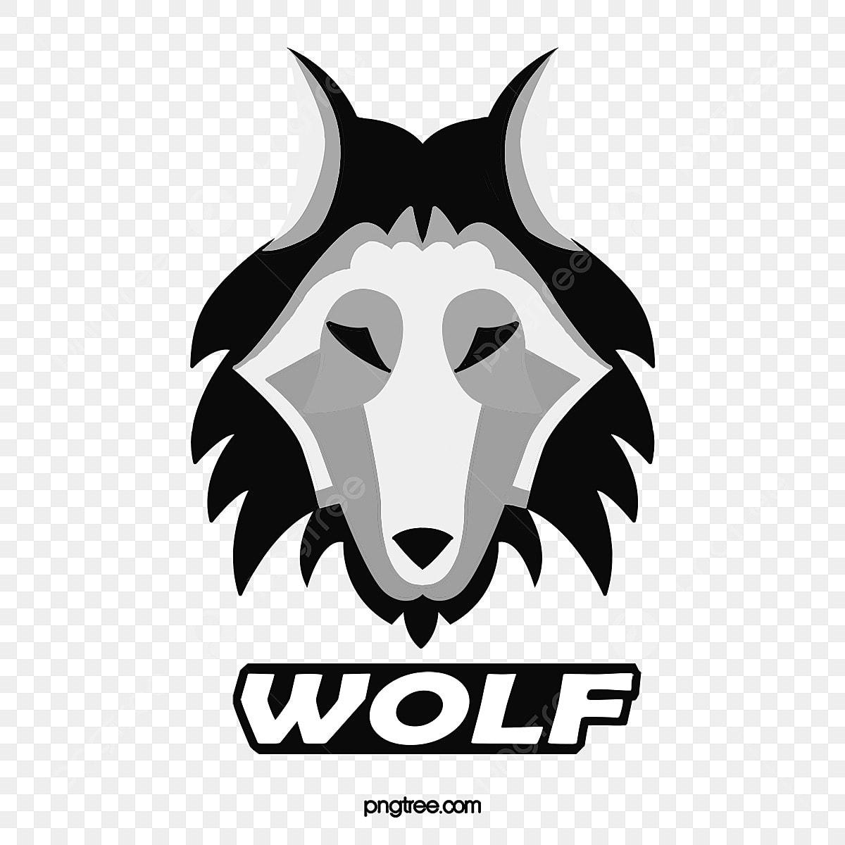 Hitam Kartun Gaya Kepala Serigala Perusahaan Unsur Unsur