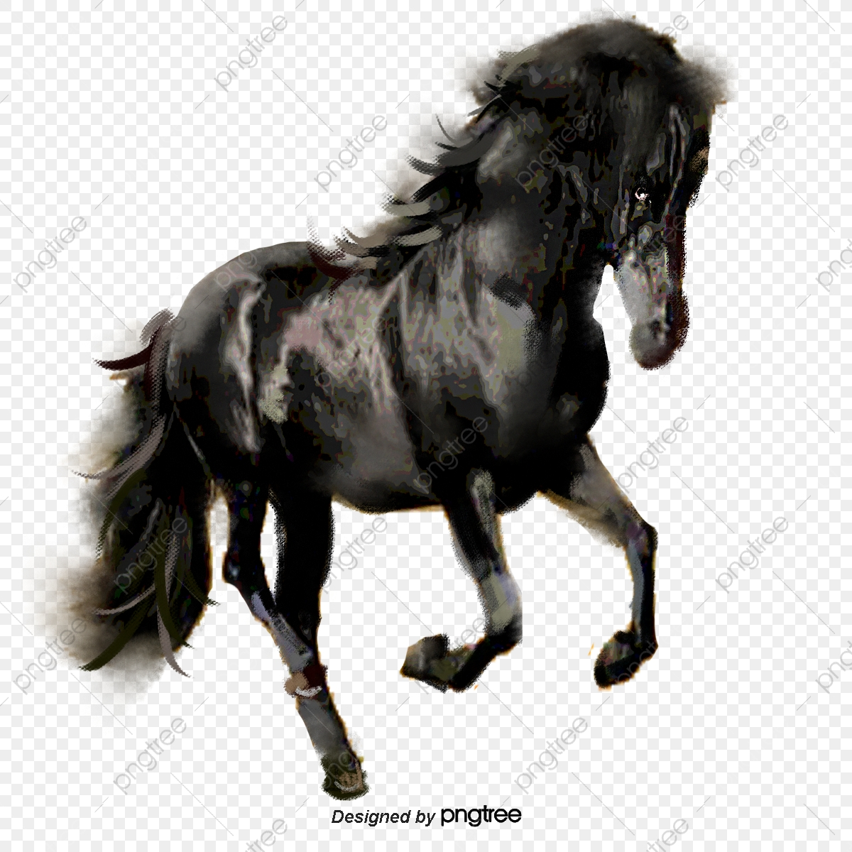 Black Horse Hand Painted Illustration Elements Horse Running Hand Painted Png Transparent Clipart Image And Psd File For Free Download