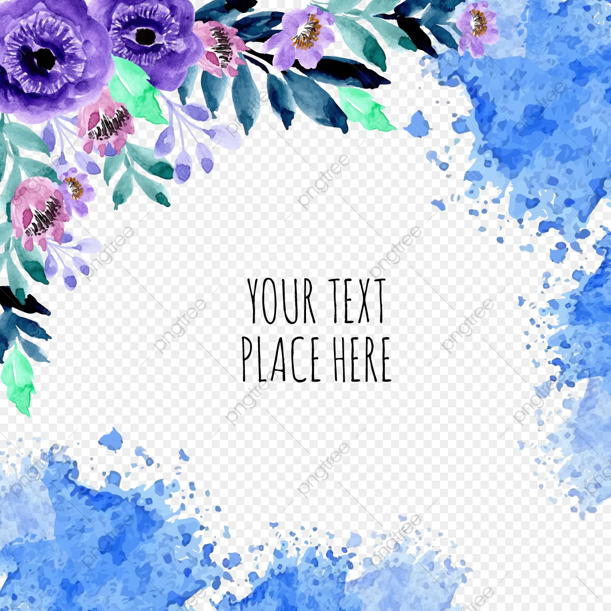 Blue Watercolor Flower Frame With Abstract Background