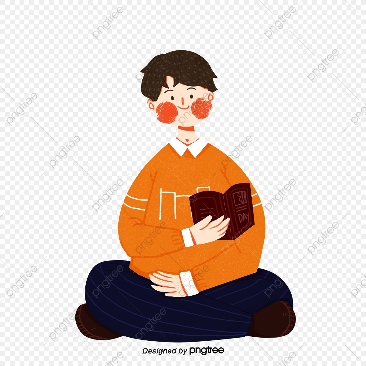 Cartoon Boys Sit Reading Book Element Cartoon Style Png Transparent Clipart Image And Psd File For Free Download