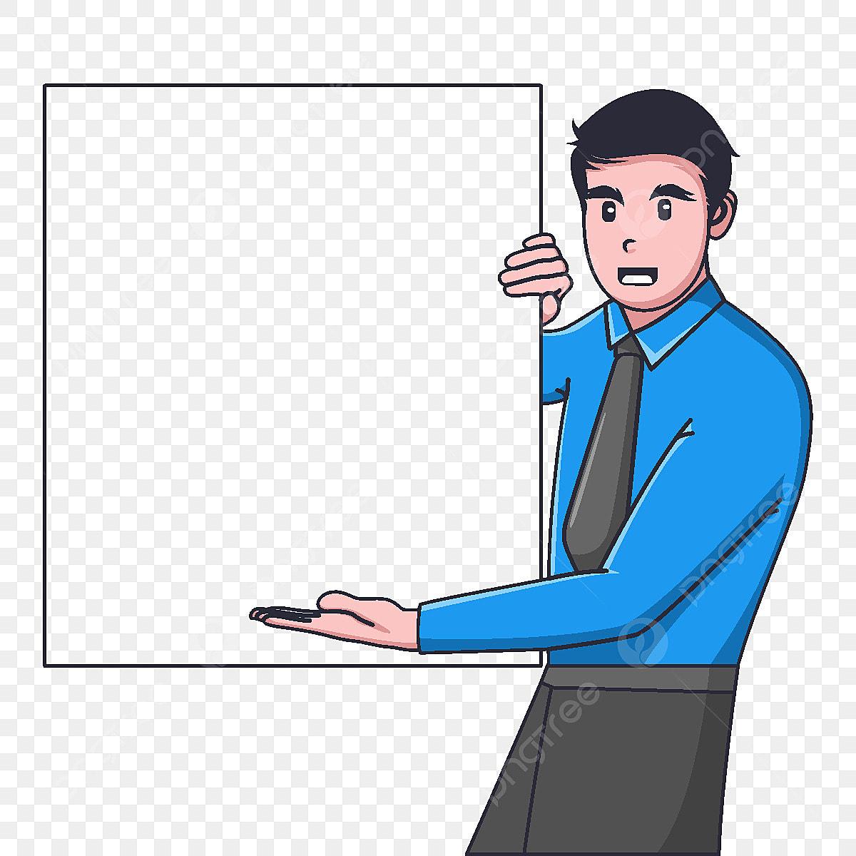 Gambar Kartun Ahli Perniagaan Memegang Putih Kosong Lembaga Sesuai Untuk Persembahan Sepanduk Halaman Arahan Ahli Perniagaan Png Dan Vektor Untuk Muat Turun Percuma
