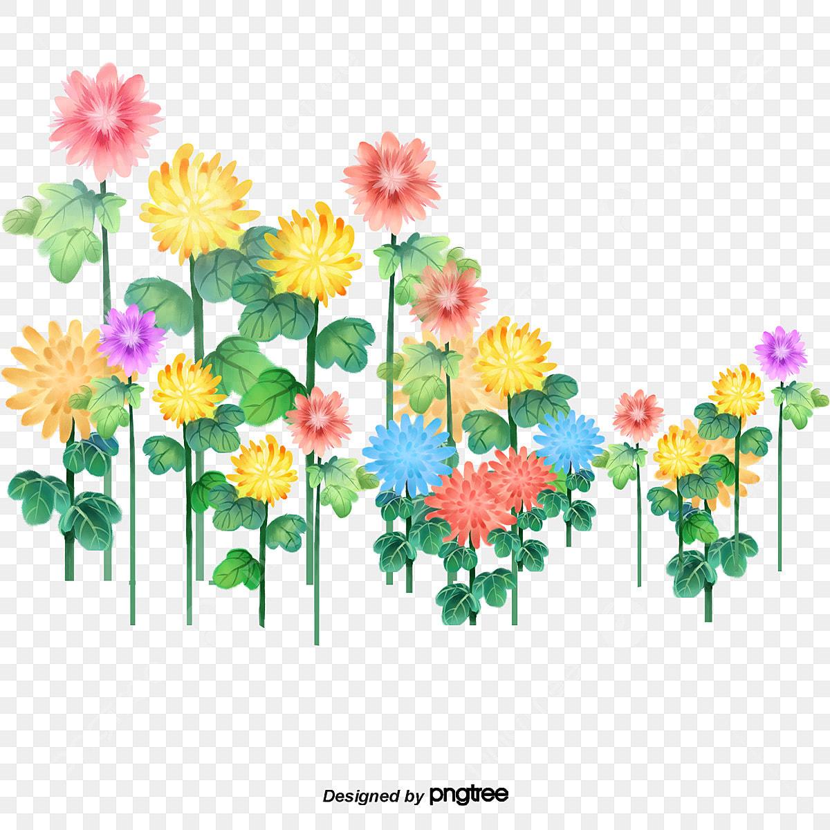 Flores Coloridas Dos Desenhos Animados A Cena A Vista Plantas