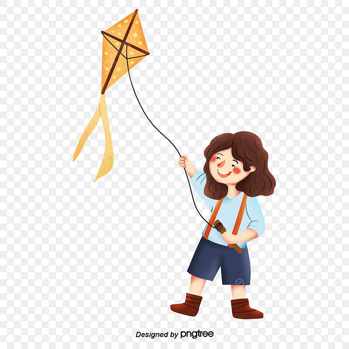 Cartoon Girls Fly Kites Element Lovely Girl Png Transparent