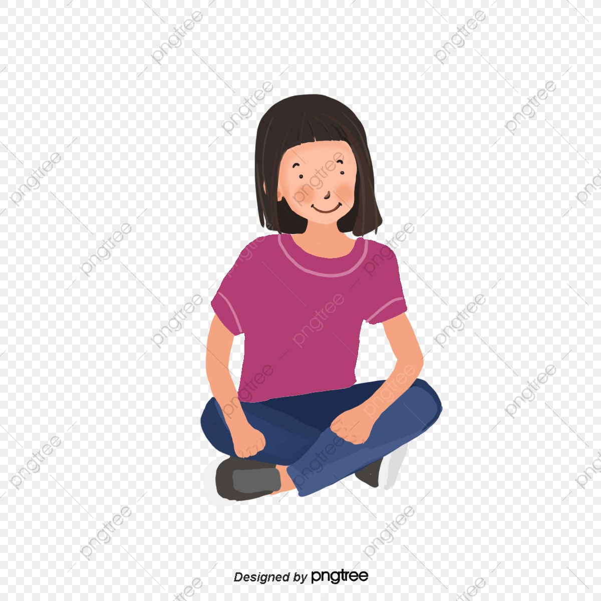 Cartoon Girls Sit Cross Legged Element Cartoon Style Sitting Png Transparent Clipart Image And Psd File For Free Download