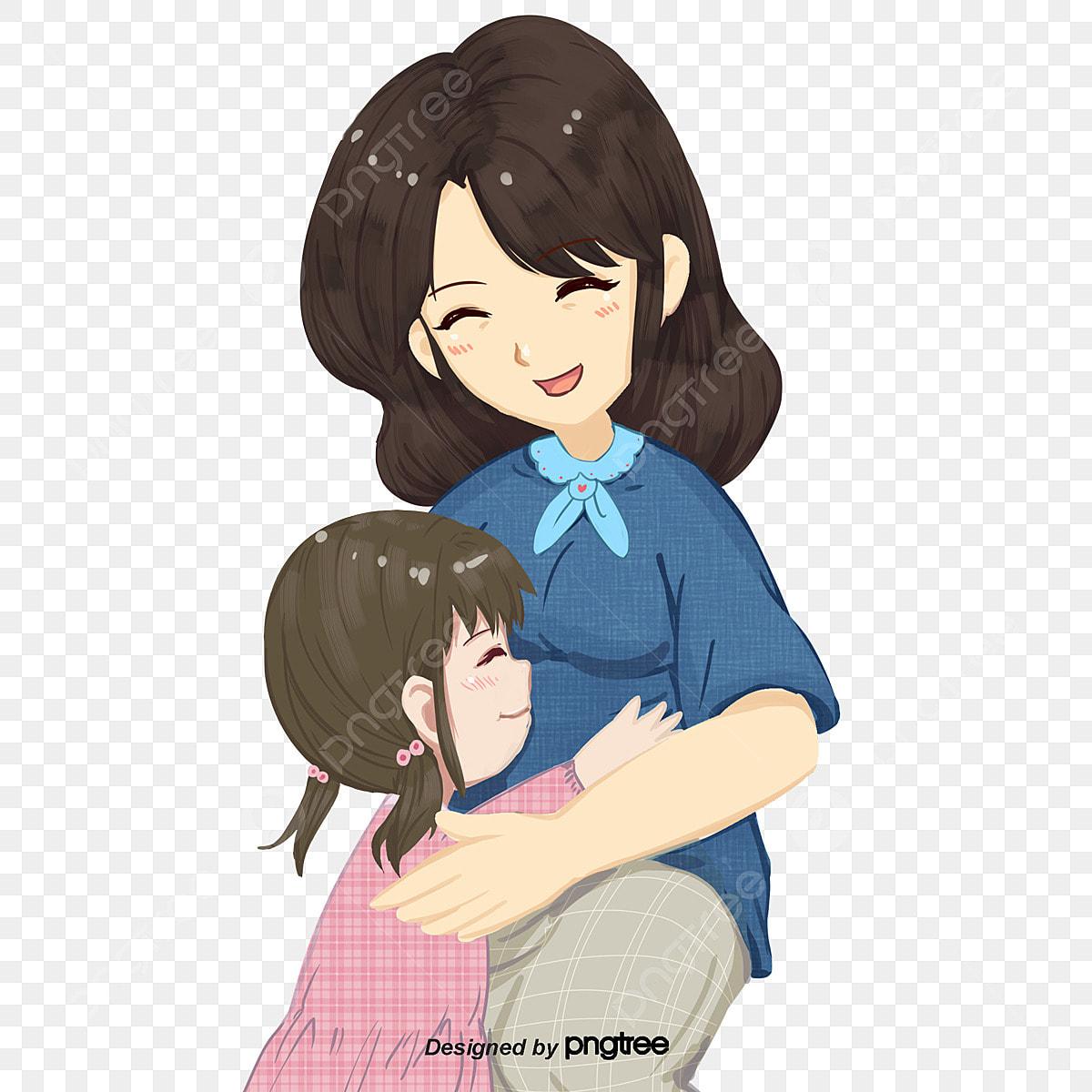 Gambar Kartun Memegang Anak Perempuan Ibu Watak Watak Unsur Unsur Kartun Png Dan Psd Untuk Muat Turun Percuma