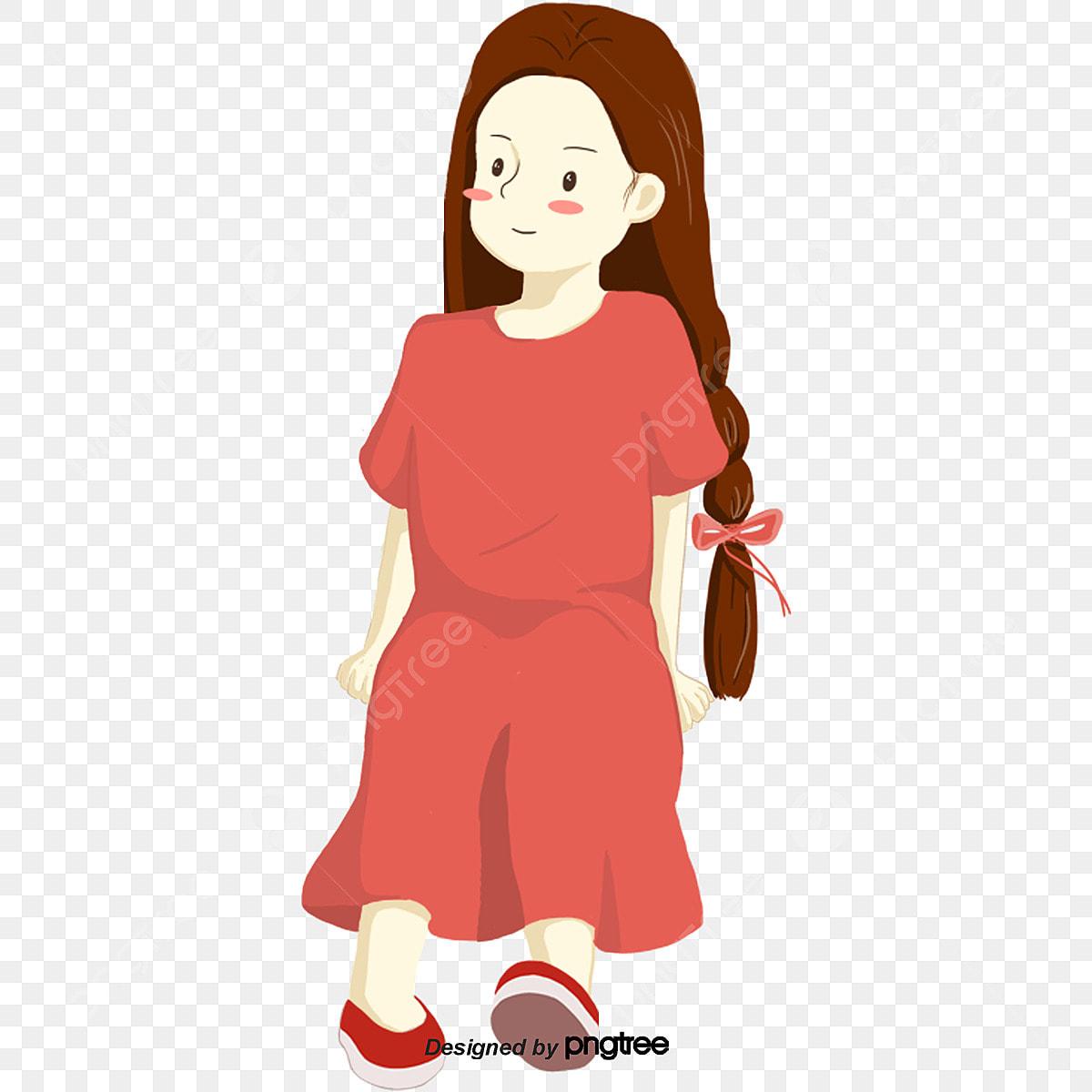 La Chica De Cabello Largo De Un Dibujo Animado Con Vestido