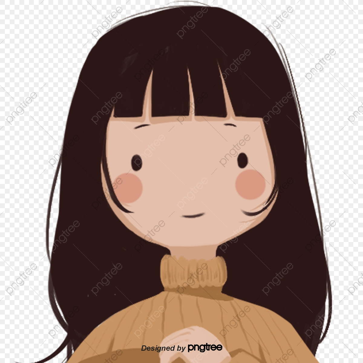 Cartoon Long Hair Girl Character Bangs Cartoon Png Transparent