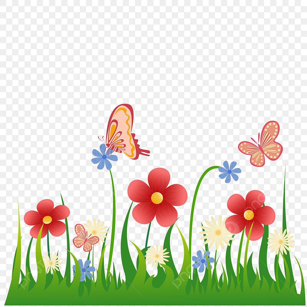 Kartun Padang Rumput Bunga Rama Rama Rama Rama Padang Rumput