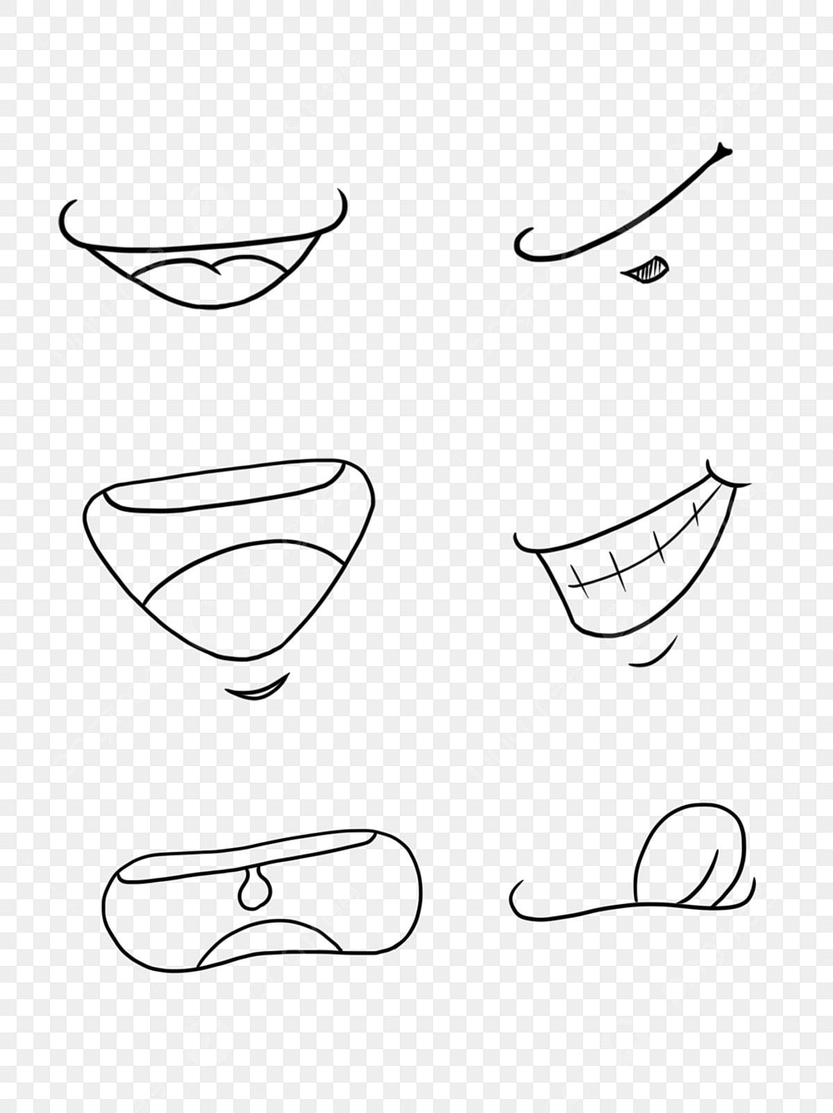 Tangan Kartun Tangan Ditarik Tersenyum Mulut Sketsa