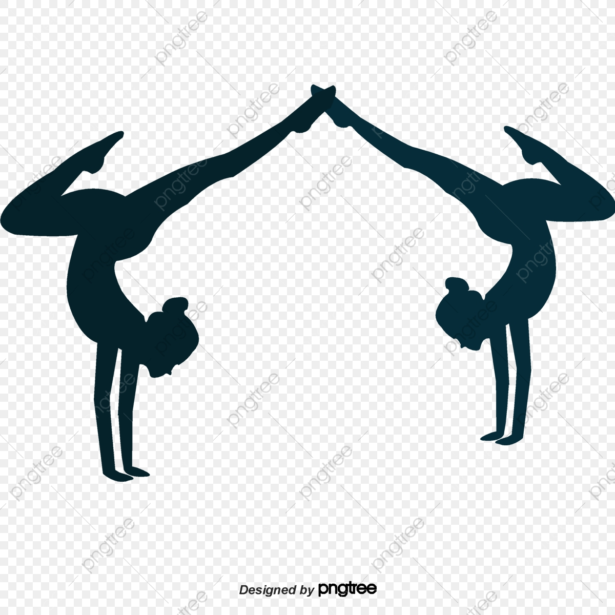 Cartoon Silhouettes Of Two Women Practicing Yoga Character Graceful Element Png Transparent Clipart Image And Psd File For Free Download