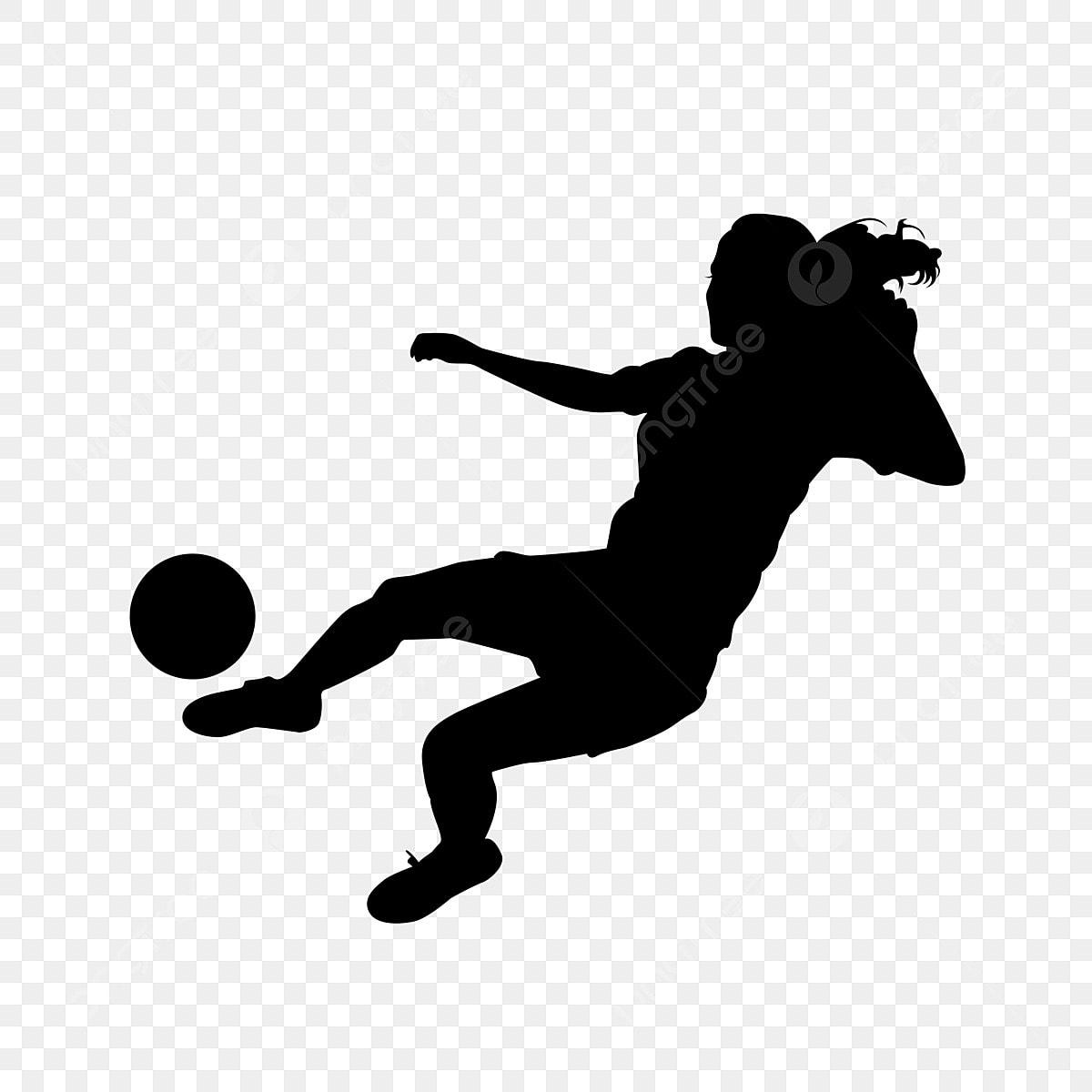 Gambar Menendang Bola Sepak Bola Wanita Kartun Bayang Sukan Bina Badan Siluet Png Dan Psd Untuk Muat Turun Percuma