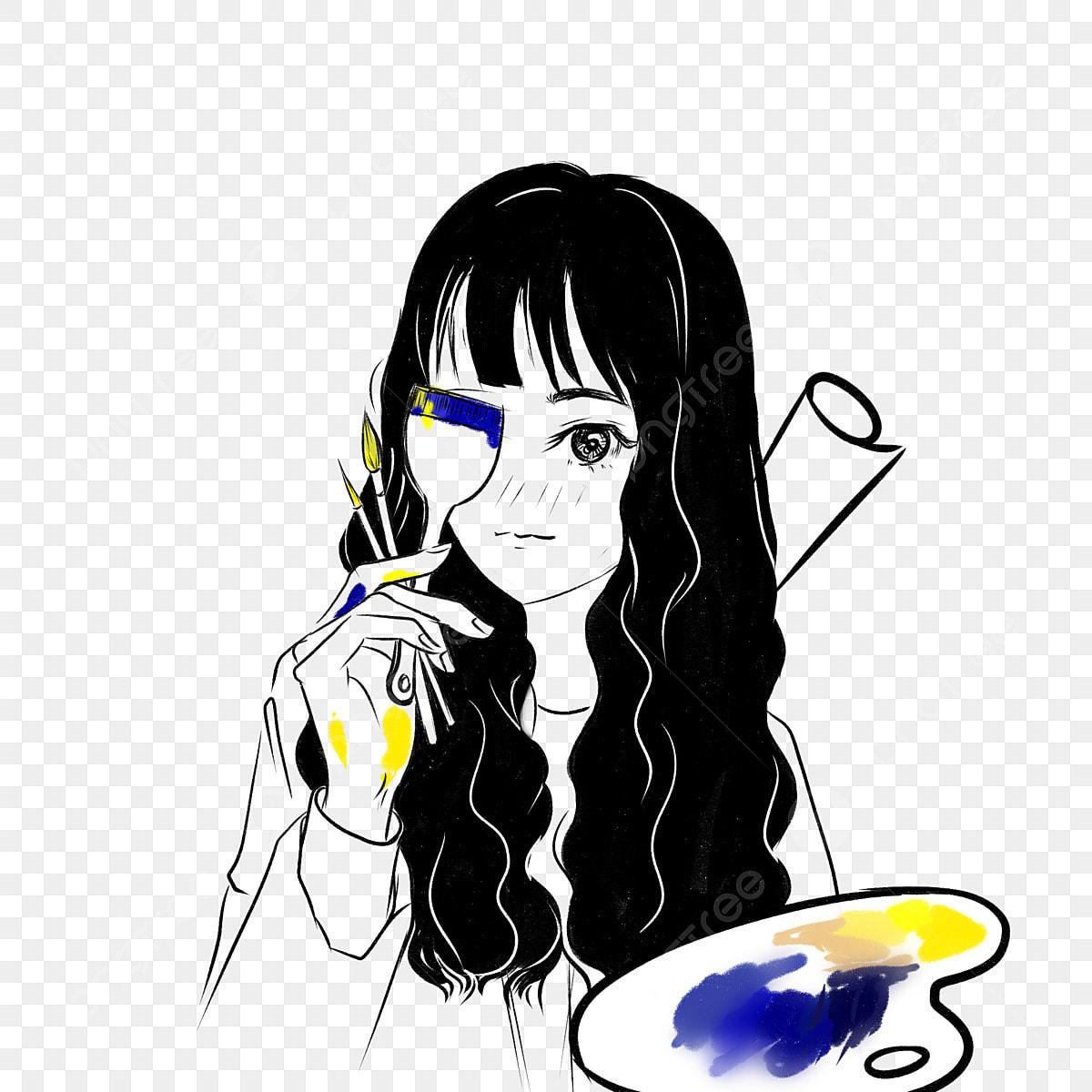 Character Art Student Avatar Palette Brush Girl Black And White