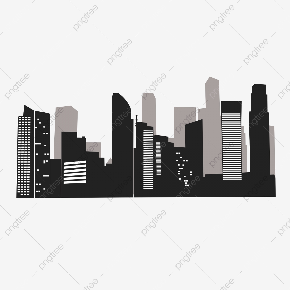 City Buildings Group Silhouette Vector, Building Silhouette, Black And White Building, City ...