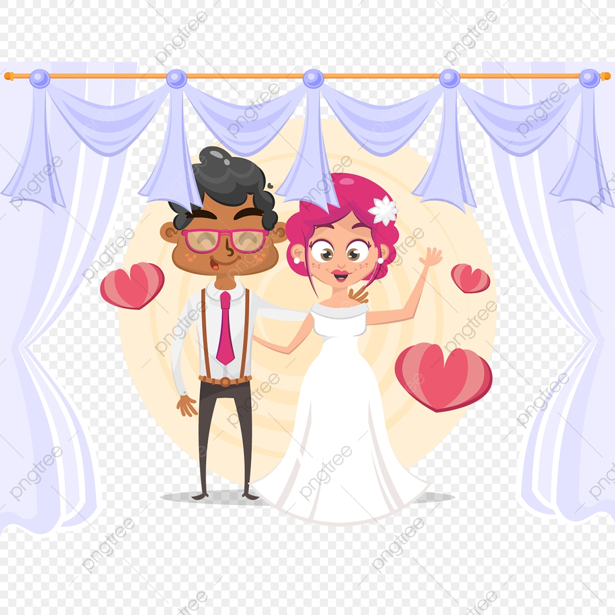 Cute Cartoon Couple For Wedding Invitations Card Wedding
