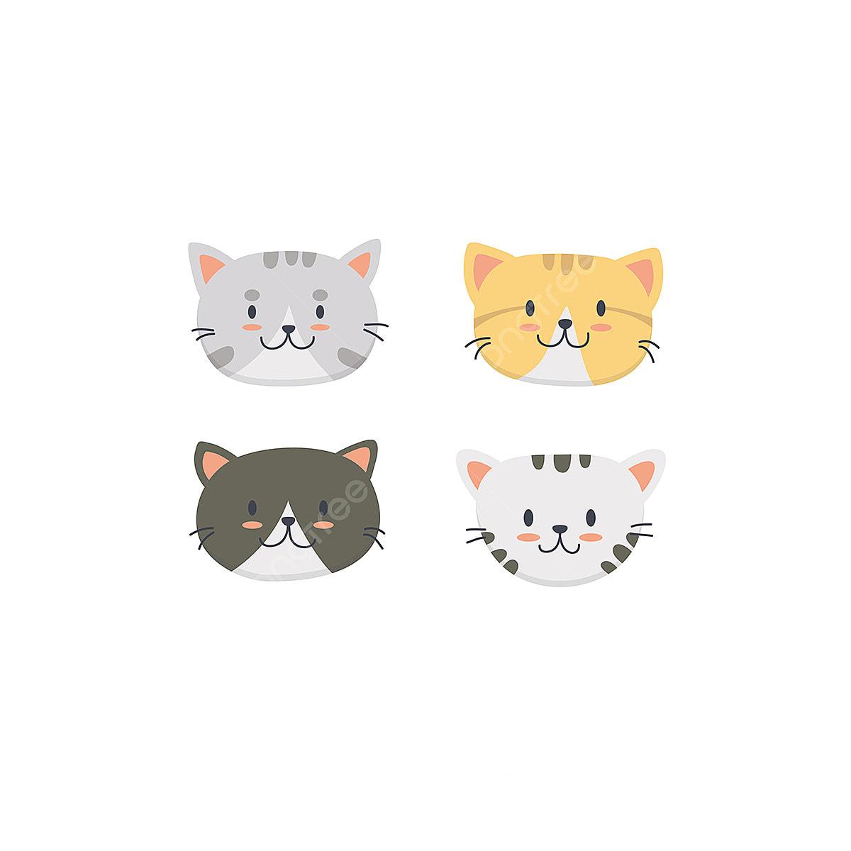 Cute Cat Face Illustration Set