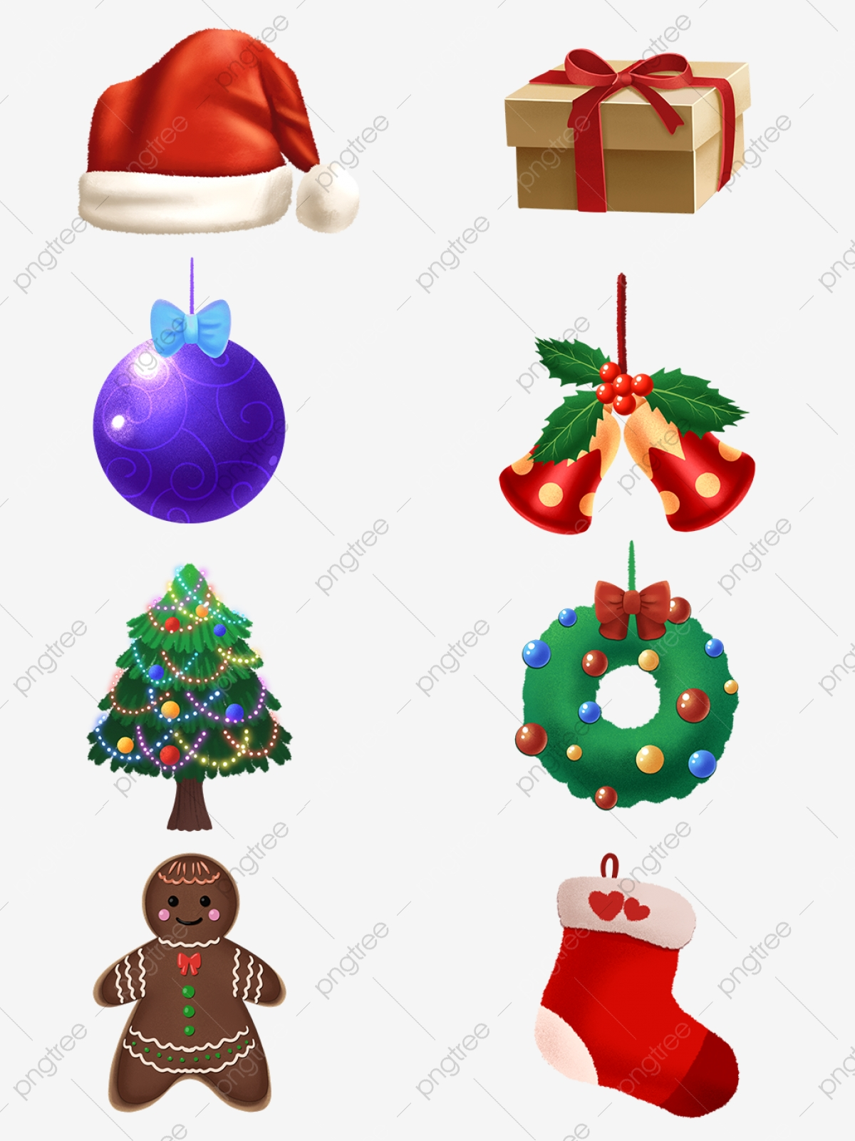 Cute Christmas Decoration Cartoon Transparent Material Collection Red Yellow White Png Transparent Clipart Image And Psd File For Free Download