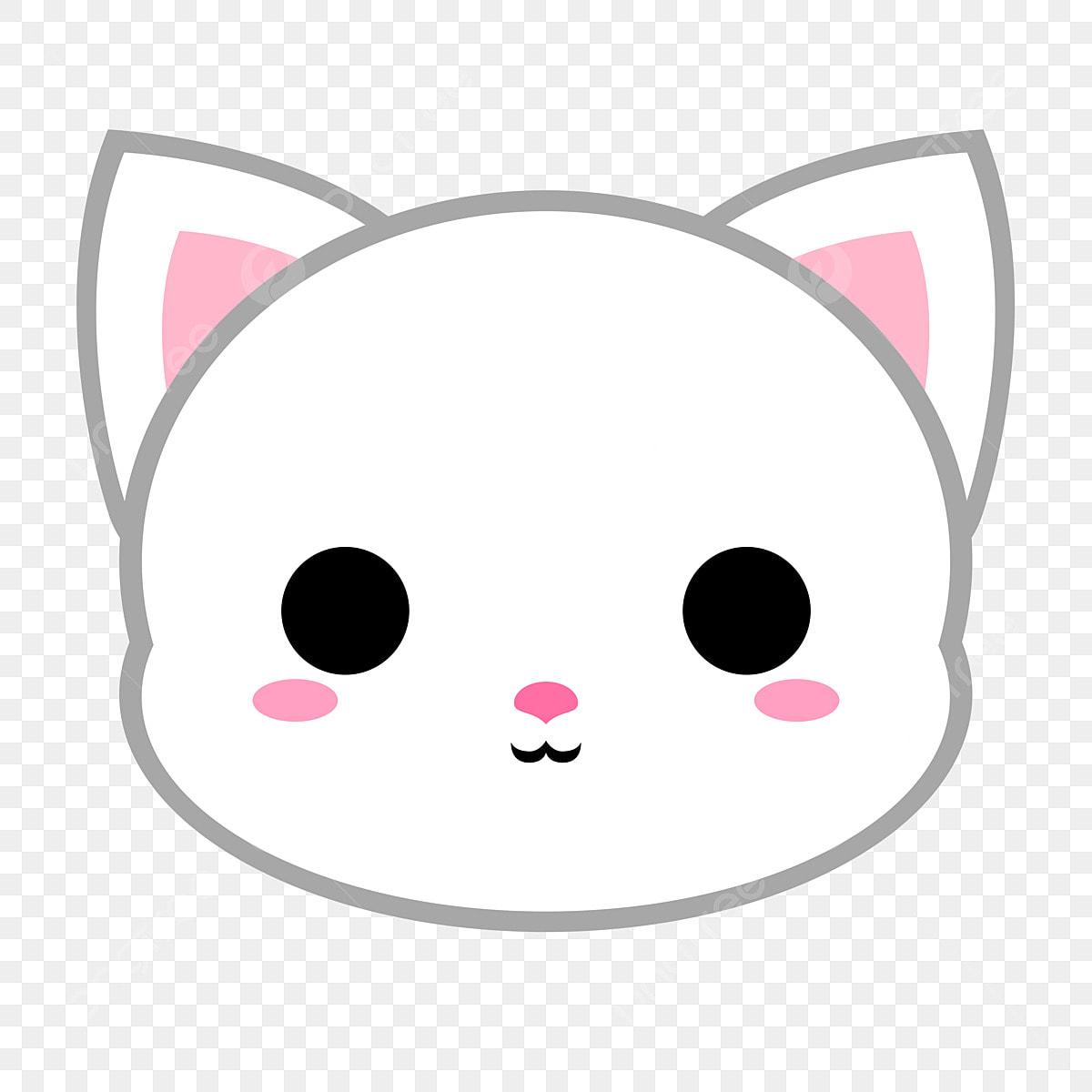 Cute Kucing Putih Kepala Haiwan Kucing Kartun Kucing Fail
