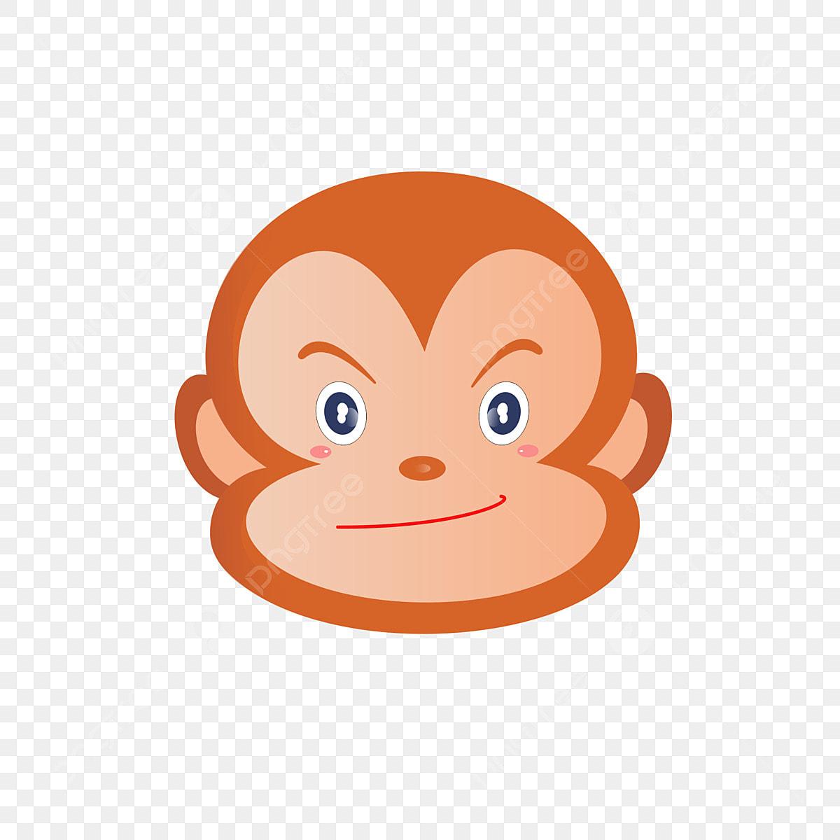 Haiwan Kartun Warna Muka Lucu Monyet Tunggal Fail PNG Dan