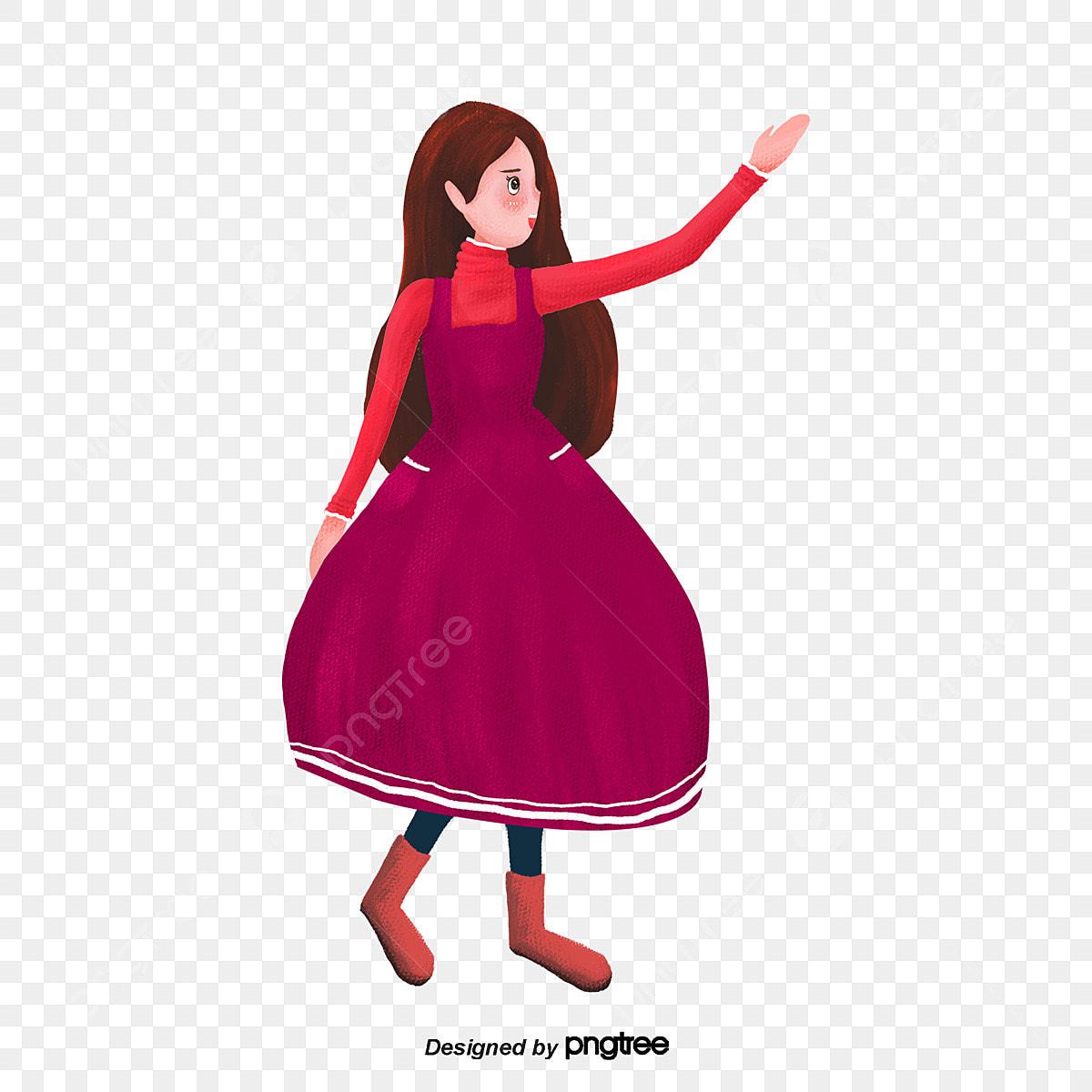 La Chica Del Vestido Rojo Oscuro Cartel Encantador Escena