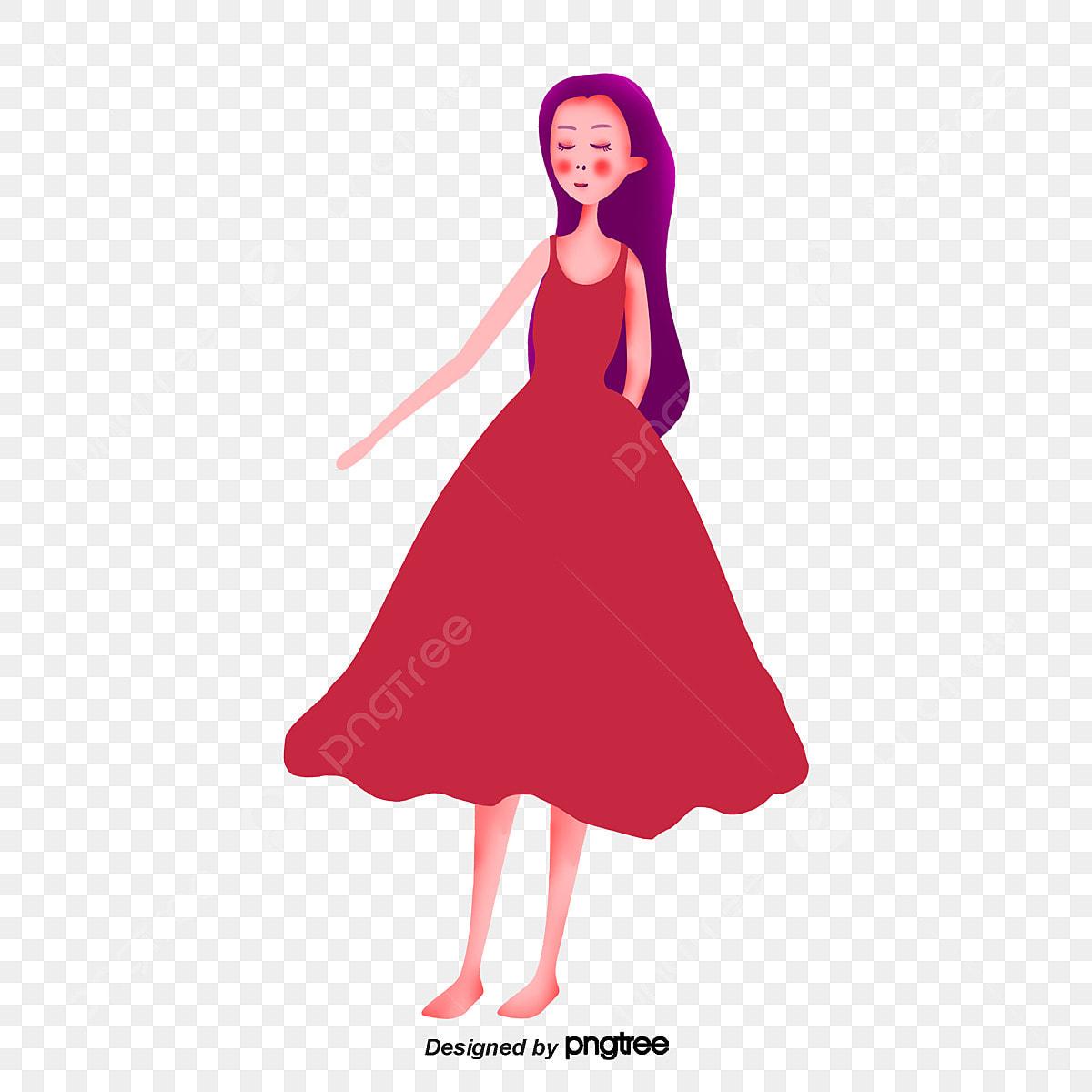 La Chica Del Vestido Rojo Elemento Cartel Encantador