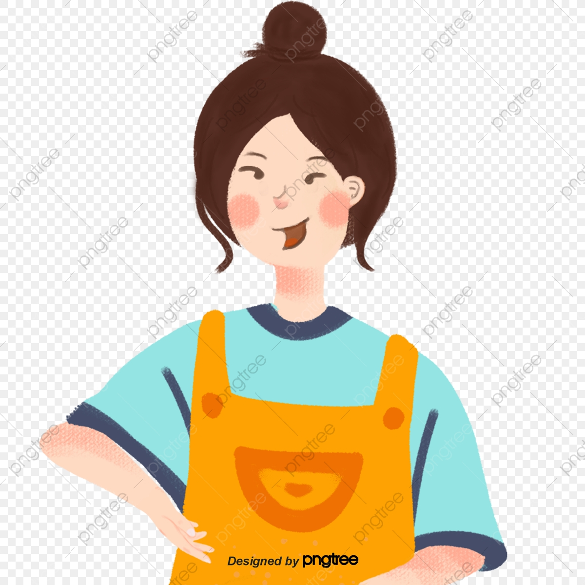 Gambar Kartun Kuning Apron Gadis Memasak Kartun Dapur Png Dan Psd Untuk Muat Turun Percuma