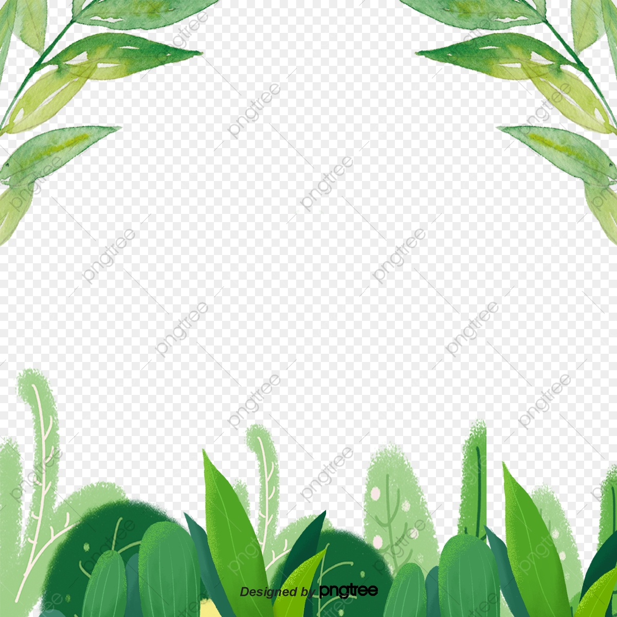 green flower and grass leaf decorative border cartoon plant ornament png transparent clipart image and psd file for free download https pngtree com freepng green flower and grass leaf decorative border 4280616 html