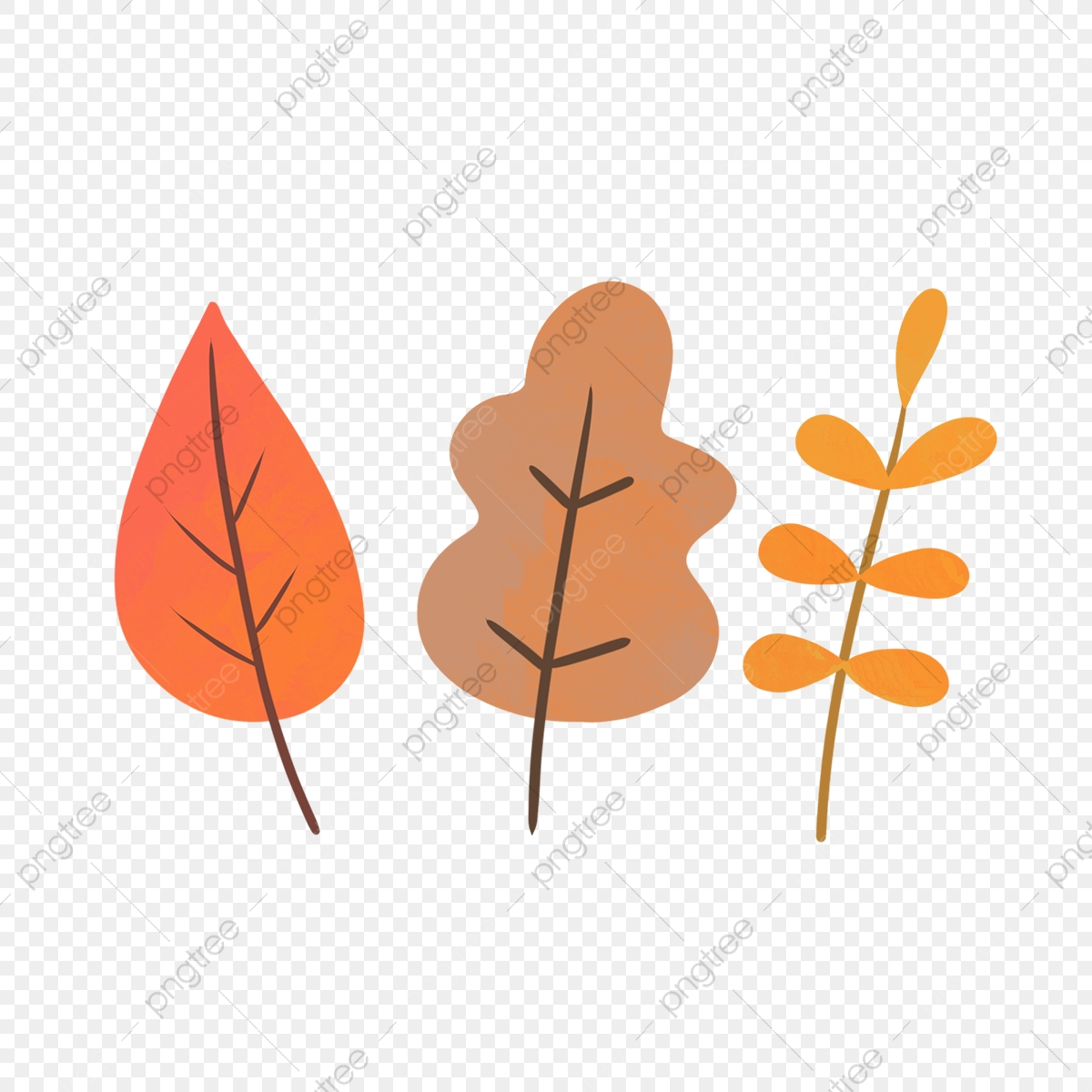 Hand Drawn Cute Autumn Leaves Set Cartoon Cute Hand Drawn Png Transparent Clipart Image And Psd File For Free Download