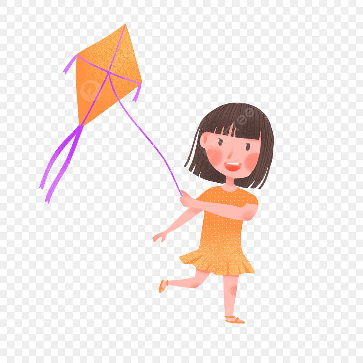 Hand Drawn Cute Girl Flying Kite Kite Cartoon Children Png