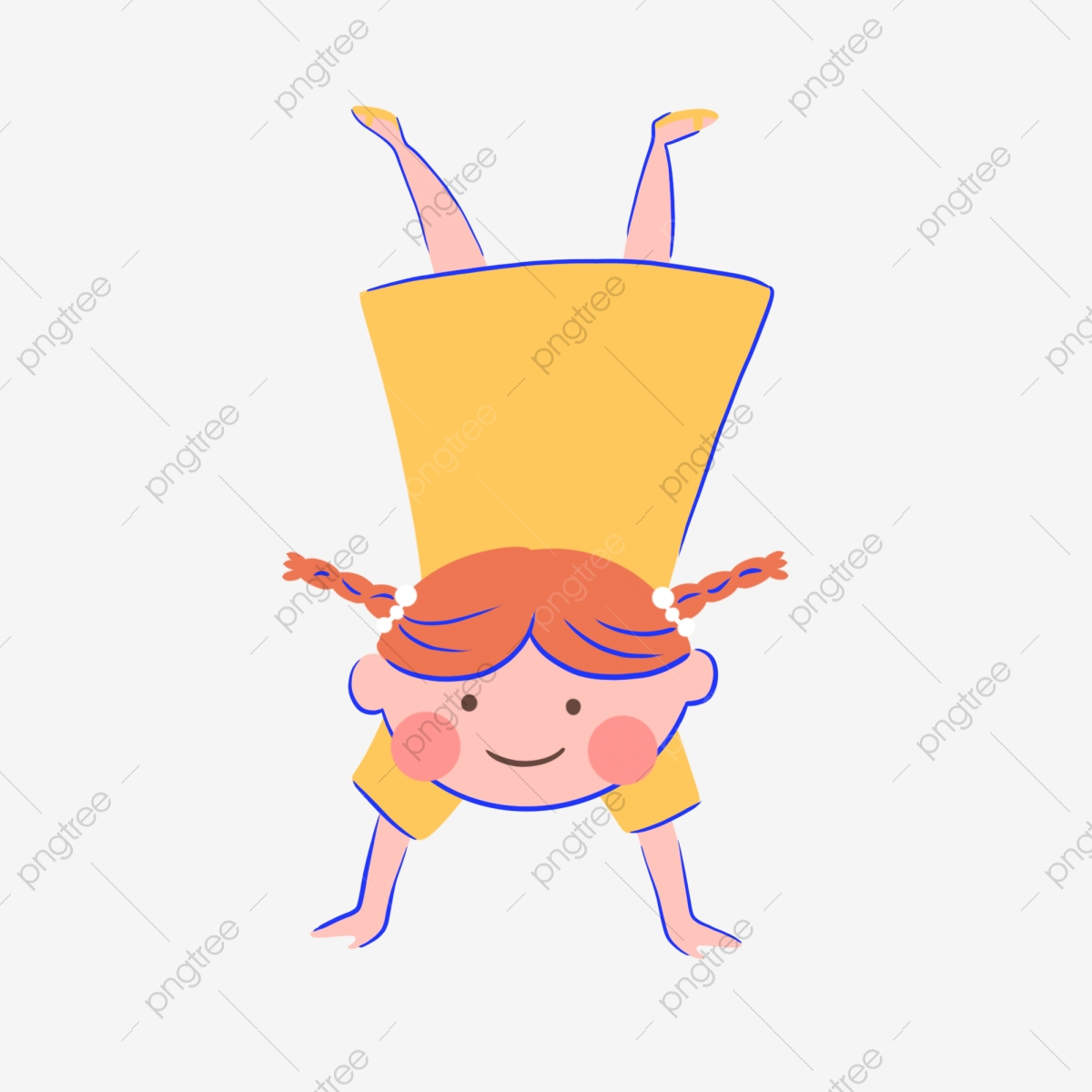 Hand Drawn Cute Girl Upside Down Cartoon Children Kids Png Transparent Clipart Image And Psd File For Free Download