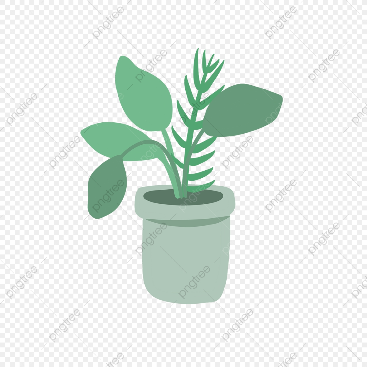 Hand Drawn Cute Green Pot Plants Garden Leaves Drawing Png Transparent Clipart Image And Psd File For Free Download