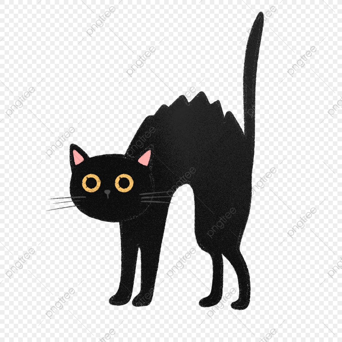 Hand Drawn Cute Scared Black Cat, Scared, Cartoon, Pet PNG ...