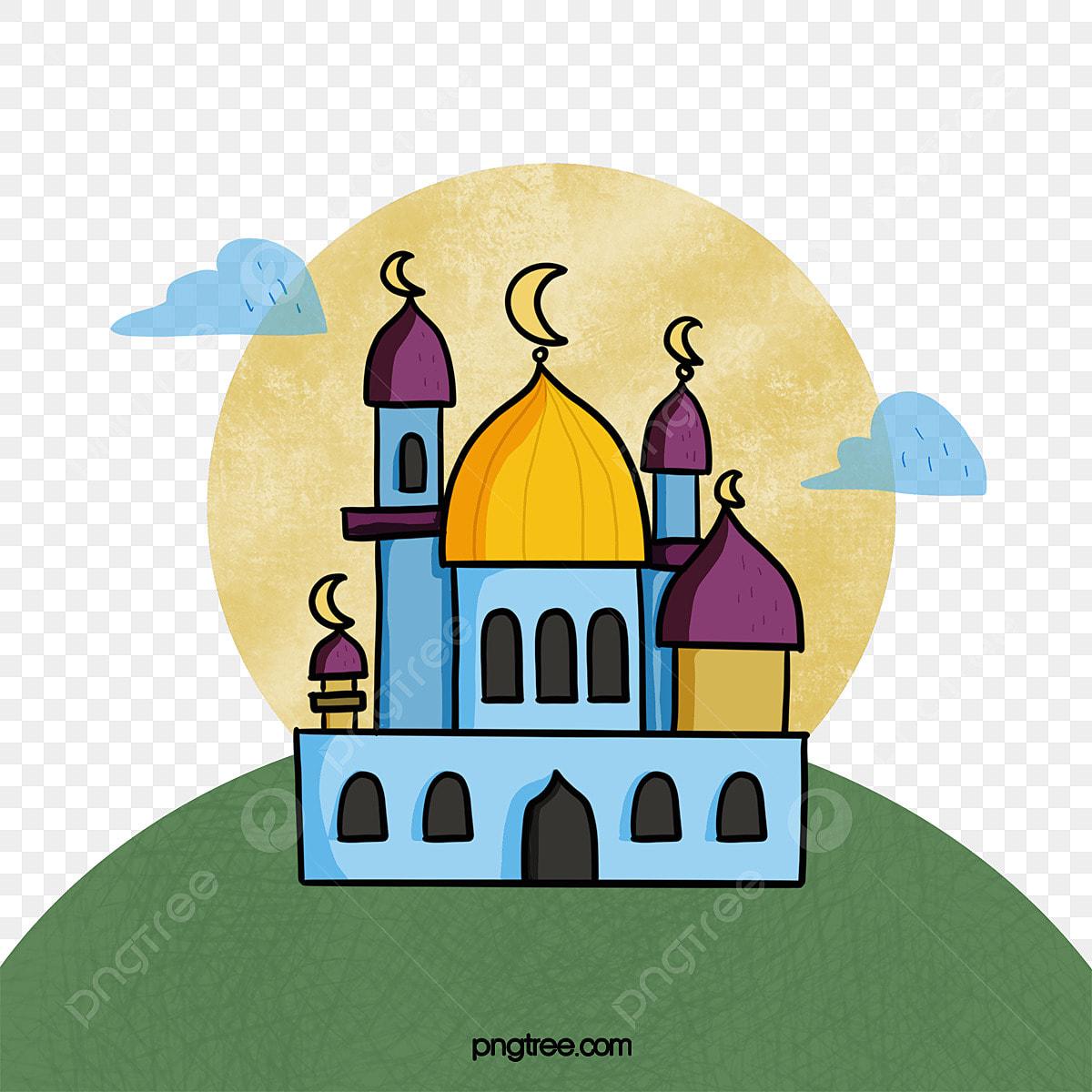 Lukisan Tangan Gaya Kartun Masjid Islam Kartun Ramadan Fail Png