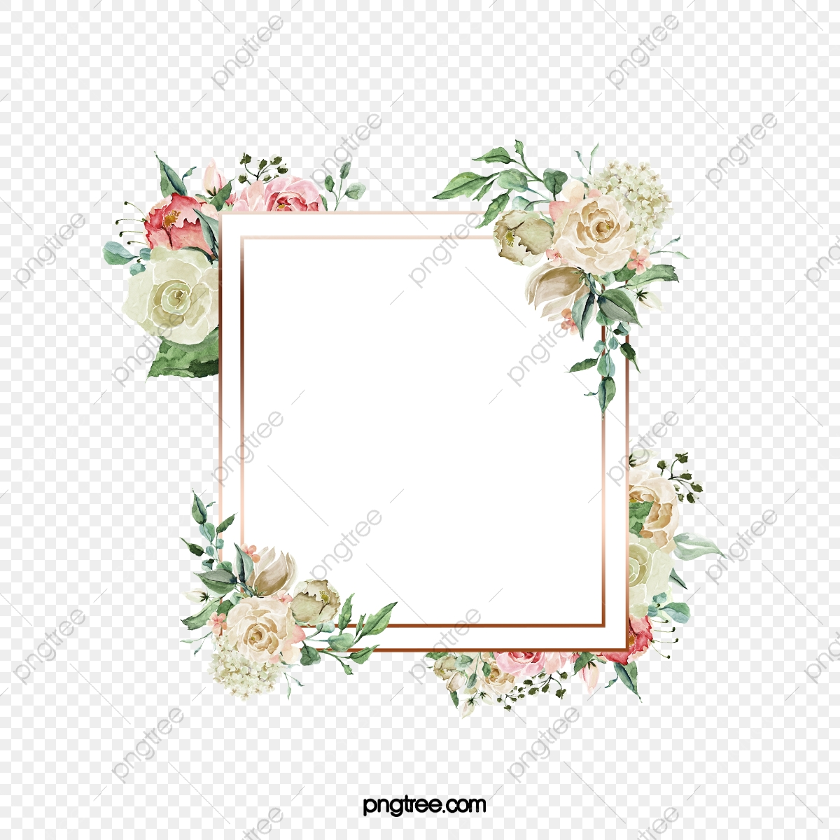 Bordes De Invitación Para La Boda De Flores Pintadas A Mano