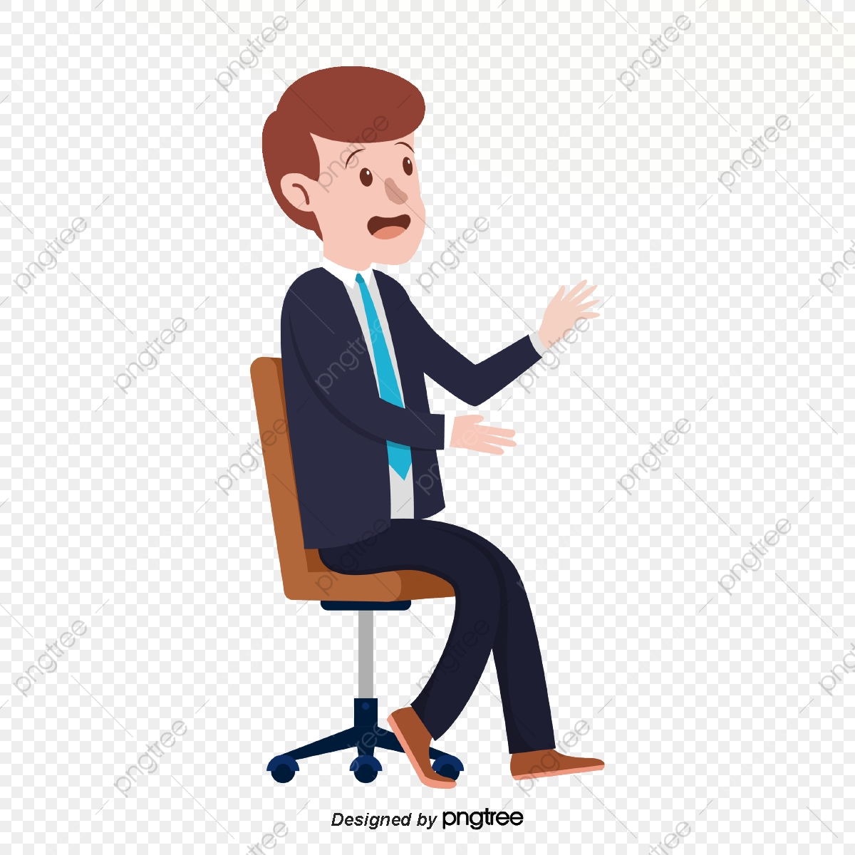 Men In Suits Speaking At Meetings Character Office Chair