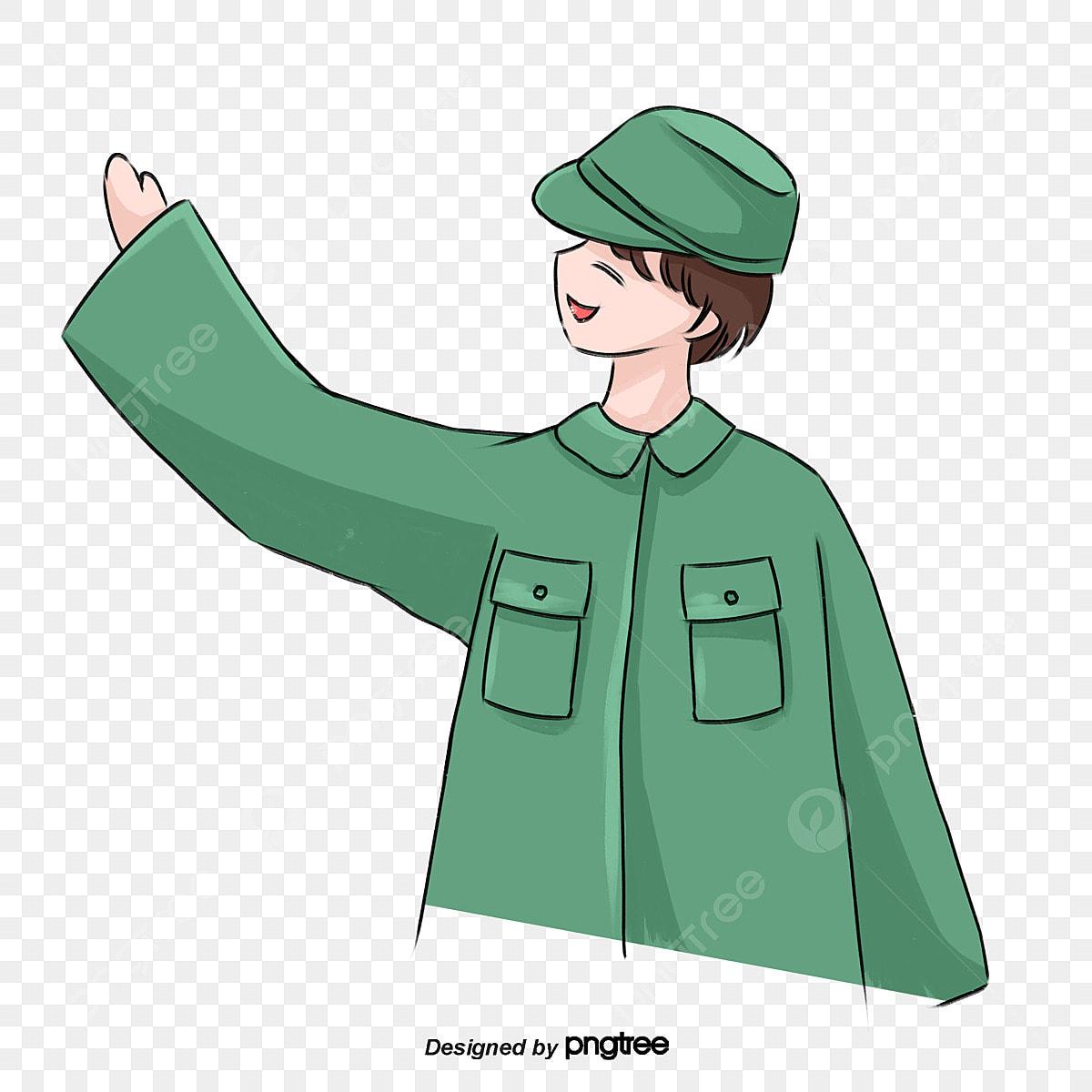 Camarada Miembro Del Partido Del Vestido Verde Bandera Roja