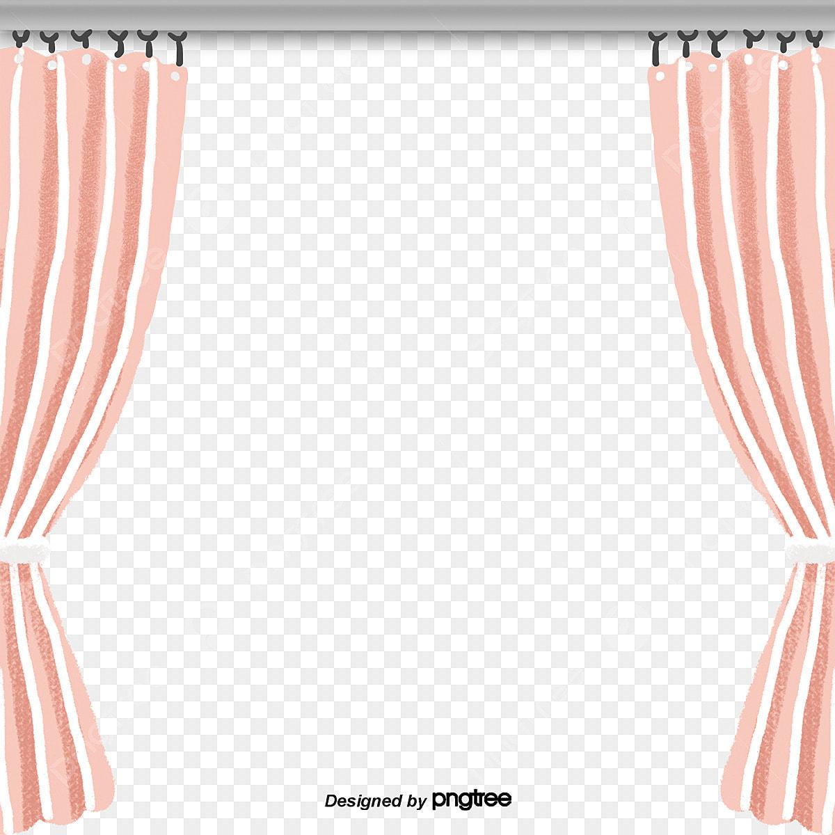 Pink Curtains Element Cartoon Fabric