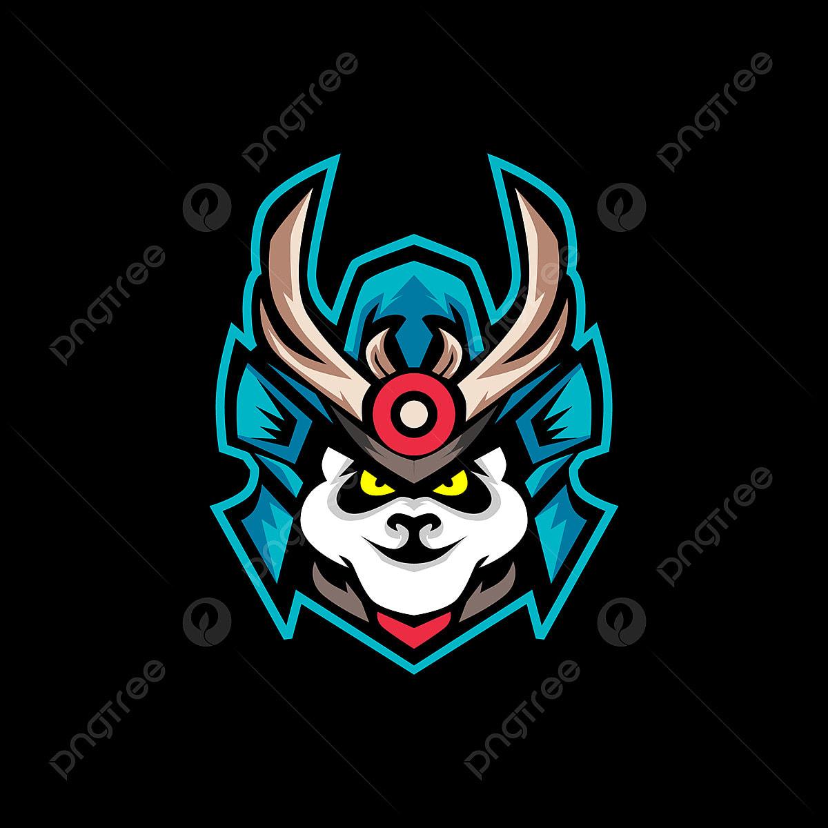 Samurai Panda E Sports Logo Gaming Mascot Animal Panda